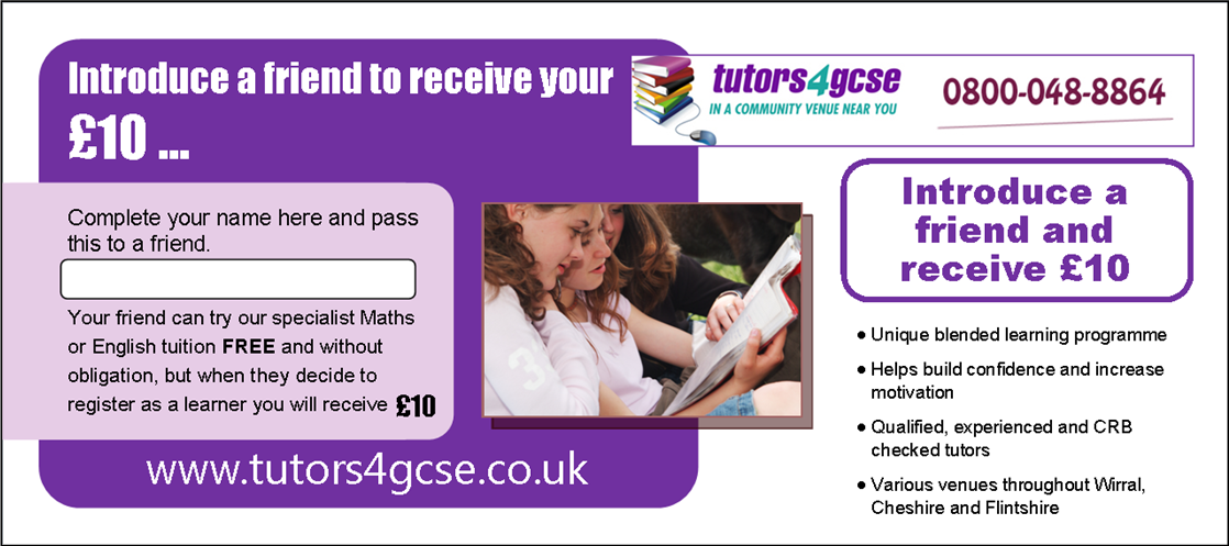 FREE trial session for Maths or English - available in Chester, Ellesmere Port, Wirral, Mold and Buckley